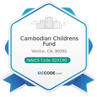 Cambodian Childrens Fund - NAICS Code 624190 - Other Individual and Family Services
