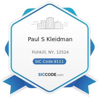 Paul S Kleidman - SIC Code 8111 - Legal Services