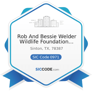 Rob And Bessie Welder Wildlife Foundation Library - SIC Code 0971 - Hunting, Trapping, Game...