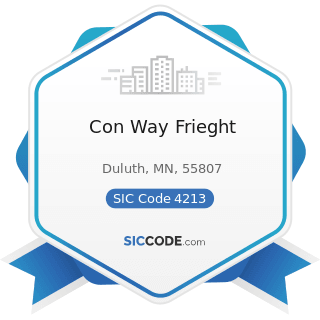 Con Way Frieght - SIC Code 4213 - Trucking, except Local