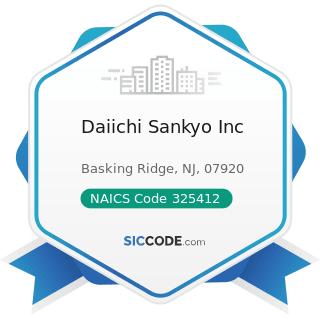 Daiichi Sankyo Inc - NAICS Code 325412 - Pharmaceutical Preparation Manufacturing