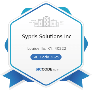 Sypris Solutions Inc - SIC Code 3825 - Instruments for Measuring and Testing of Electricity and...