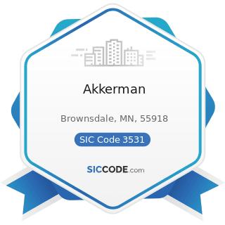 Akkerman - SIC Code 3531 - Construction Machinery and Equipment