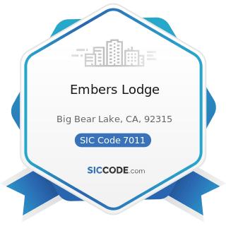 Embers Lodge - SIC Code 7011 - Hotels and Motels