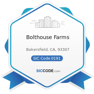 Bolthouse Farms - SIC Code 0191 - General Farms, Primarily Crop