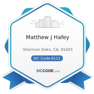 Matthew J Hafey - SIC Code 8111 - Legal Services
