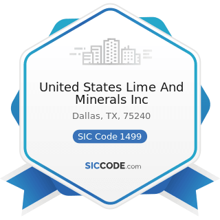 United States Lime And Minerals Inc - SIC Code 1499 - Miscellaneous Nonmetallic Minerals, except...