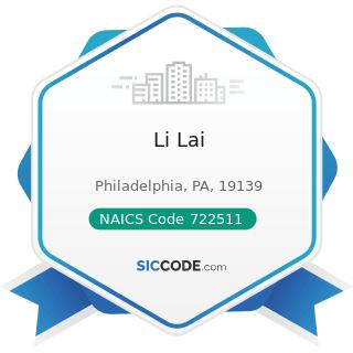 Li Lai - NAICS Code 722511 - Full-Service Restaurants