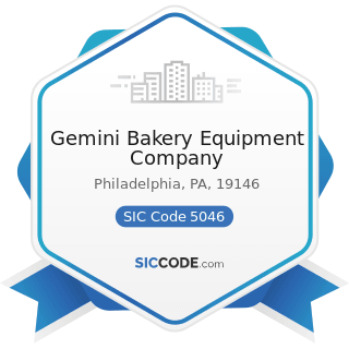 Gemini Bakery Equipment Company - SIC Code 5046 - Commercial Equipment, Not Elsewhere Classified