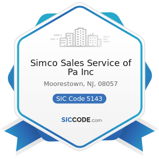 Simco Sales Service of Pa Inc - SIC Code 5143 - Dairy Products, except Dried or Canned