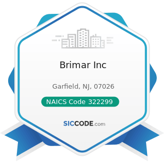 Brimar Inc - NAICS Code 322299 - All Other Converted Paper Product Manufacturing