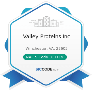 Valley Proteins Inc - NAICS Code 311119 - Other Animal Food Manufacturing