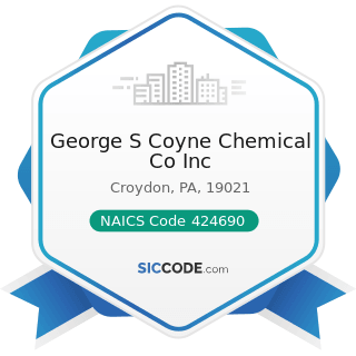 George S Coyne Chemical Co Inc - NAICS Code 424690 - Other Chemical and Allied Products Merchant...