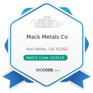 Mack Metals Co - NAICS Code 423510 - Metal Service Centers and Other Metal Merchant Wholesalers
