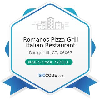 Romanos Pizza Grill Italian Restaurant - NAICS Code 722511 - Full-Service Restaurants