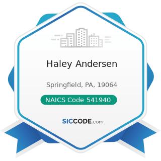 Haley Andersen - NAICS Code 541940 - Veterinary Services