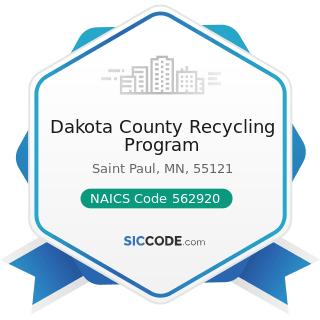 Dakota County Recycling Program - NAICS Code 562920 - Materials Recovery Facilities