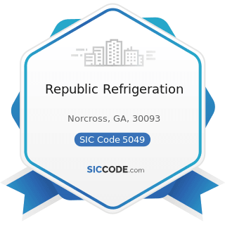 Republic Refrigeration - SIC Code 5049 - Professional Equipment and Supplies, Not Elsewhere...