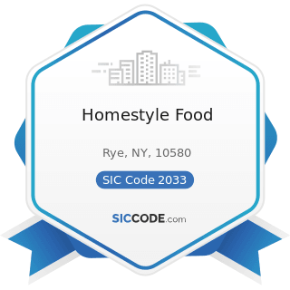 Homestyle Food - SIC Code 2033 - Canned Fruits, Vegetables, Preserves, Jams, and Jellies