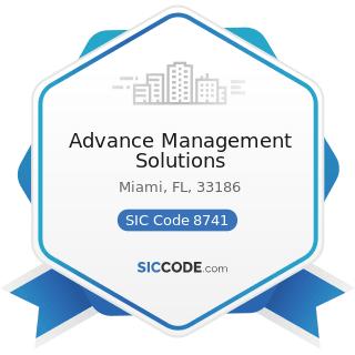 Advance Management Solutions - SIC Code 8741 - Management Services