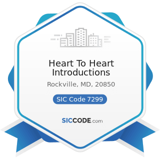 Heart To Heart Introductions - SIC Code 7299 - Miscellaneous Personal Services, Not Elsewhere...