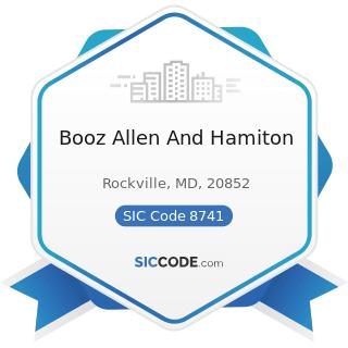 Booz Allen And Hamiton - SIC Code 8741 - Management Services