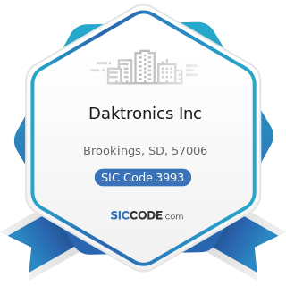 Daktronics Inc - SIC Code 3993 - Signs and Advertising Specialties