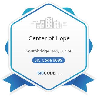 Center of Hope - SIC Code 8699 - Membership Organizations, Not Elsewhere Classified