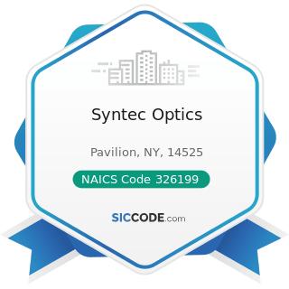Syntec Optics - NAICS Code 326199 - All Other Plastics Product Manufacturing