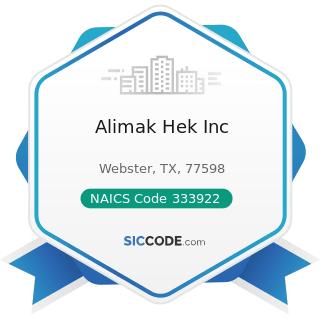 Alimak Hek Inc - NAICS Code 333922 - Conveyor and Conveying Equipment Manufacturing