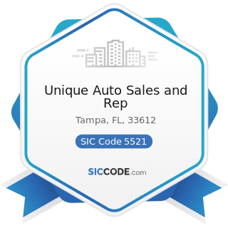 Unique Auto Sales and Rep - SIC Code 5521 - Motor Vehicle Dealers (Used Only)