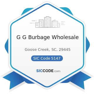 G G Burbage Wholesale - SIC Code 5147 - Meats and Meat Products