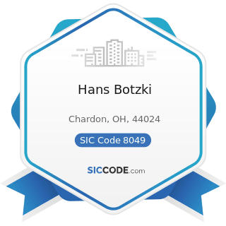 Hans Botzki - SIC Code 8049 - Offices and Clinics of Health Practitioners, Not Elsewhere...