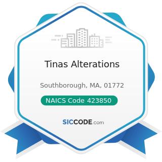 Tinas Alterations - NAICS Code 423850 - Service Establishment Equipment and Supplies Merchant...