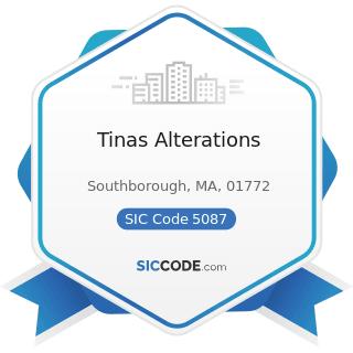 Tinas Alterations - SIC Code 5087 - Service Establishment Equipment and Supplies