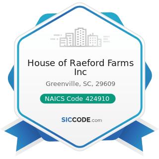 House of Raeford Farms Inc - NAICS Code 424910 - Farm Supplies Merchant Wholesalers