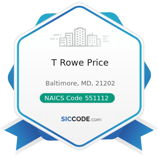 T Rowe Price - NAICS Code 551112 - Offices of Other Holding Companies