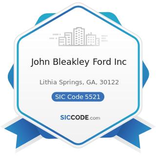 John Bleakley Ford Inc - SIC Code 5521 - Motor Vehicle Dealers (Used Only)