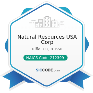 Natural Resources USA Corp - NAICS Code 212399 - All Other Nonmetallic Mineral Mining