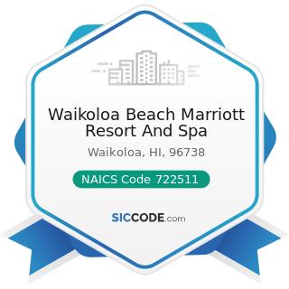 Waikoloa Beach Marriott Resort And Spa - NAICS Code 722511 - Full-Service Restaurants