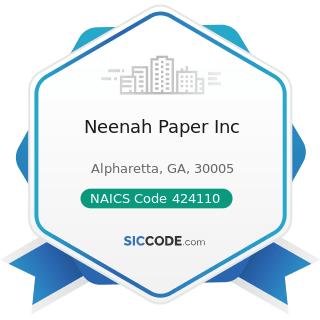 Neenah Paper Inc - NAICS Code 424110 - Printing and Writing Paper Merchant Wholesalers