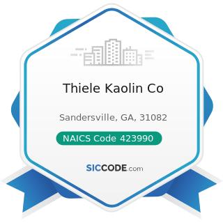 Thiele Kaolin Co - NAICS Code 423990 - Other Miscellaneous Durable Goods Merchant Wholesalers
