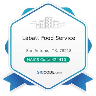 Labatt Food Service - NAICS Code 424410 - General Line Grocery Merchant Wholesalers