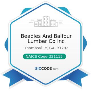 Beadles And Balfour Lumber Co Inc - NAICS Code 321113 - Sawmills