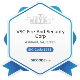VSC Fire And Security Corp - SIC Code 1731 - Electrical Work