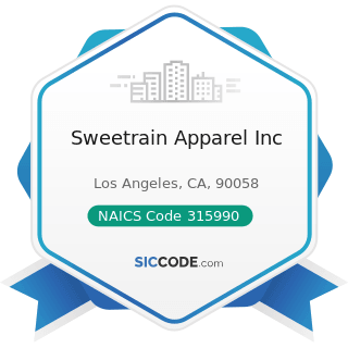 Sweetrain Apparel Inc - NAICS Code 315990 - Apparel Accessories and Other Apparel Manufacturing