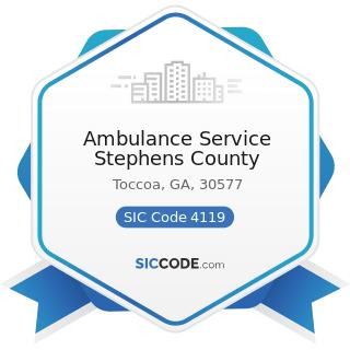 Ambulance Service Stephens County - SIC Code 4119 - Local Passenger Transportation, Not...