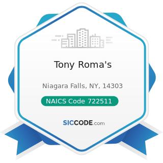 Tony Roma's - NAICS Code 722511 - Full-Service Restaurants