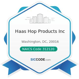 Haas Hop Products Inc - NAICS Code 312120 - Breweries