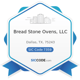 Bread Stone Ovens, LLC - SIC Code 7359 - Equipment Rental and Leasing, Not Elsewhere Classified